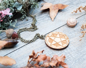Pentagram necklace,  wooden necklace, wicca pendant, pagan necklace, witch necklace, protection necklace, laser cut necklace,rustic necklace