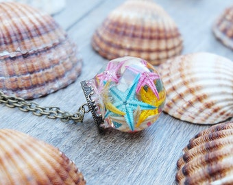 Glass orb starfish, starfish necklace, terrarium necklace, sea terrarium, resin jewelry, glass vial, sea terrarium, vial terrarium