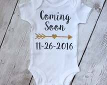 Coming soon, pregnancy announcement shirt, announcement bodysuit, custom announcement, photo prop onesie, pregnancy reveal