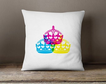 Modern pillow cover with 3 coloured English crowns, decorative pillows,vintage pillow cover,vintage cushion cover,decorative throw pillow