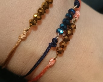 Bracelet with facet beads/Simple bracelet with cord / Delicate layering bracelet