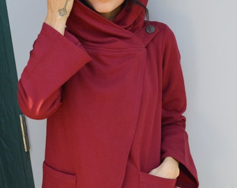 Organic cotton Kathmandu Coat - hooded coat with pockets and top button - red and black coat