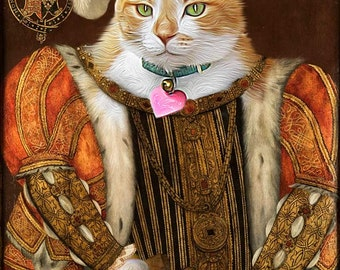 King Henry VIII - Custom Pet Portraits - Dog Portraits and Cat Portraits - Digital personalized portrait painting using your pet Photo