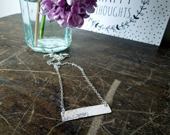 Handmade Sterling Silver Bar Necklace with Hammered Textured Finish