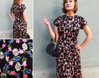 1940s Novelty Print Dress Size Medium