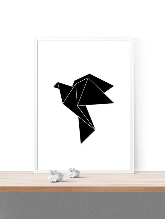 Printable Origami Bird Wall Decor Instant Download Print