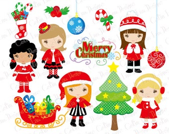 christmas girls clipart merry christmas digital clipart cg203 5 00