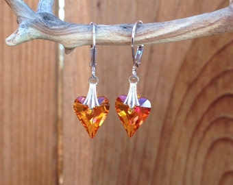 Swarovski crystal earrings/heart/love/mothers day/wedding/bridal/bridesmaid jewelry