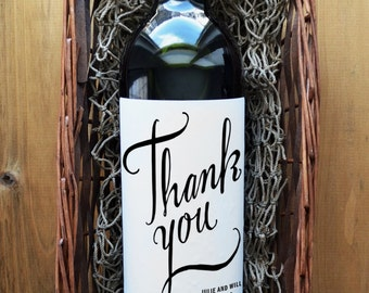 Thank You Wine Labels - Wedding Wine Bottle Label - Wedding Wine Label - Pack of 4
