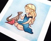 Daenerys Targaryen Mother of Dragons Game of Thrones Watercolor Print by Michelle Coffee