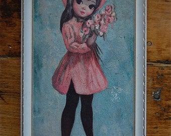 """Vintage Framed """"Easter Bonnet Girl"""" by Maio"""