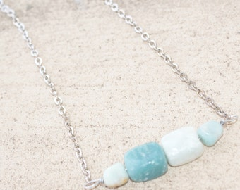 Aquamarine Stone Wired Handmade Gemstone Necklace