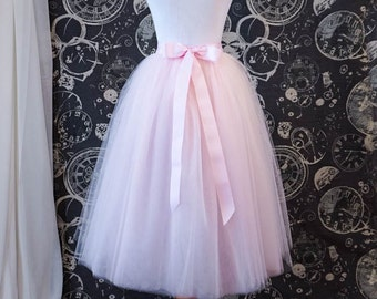 Blush Tulle Skirt for Bridesmaids, Photoshoots, Bachelorette, Weddings - Adult Tea Length Tutu With Ribbon Waistband