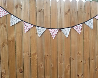 """Valentine Bunting, Romantic, Wedding Pennant Banner, Bridal Shower, Cake Table, Photo Prop, Moda """"First Crush"""", Hearts and Script"""
