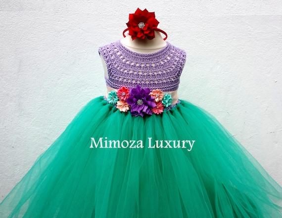 The Little Mermaid tutu dress, Ariel princess dress, little mermaid crochet top tulle dress, ariel hand knit top tutu dress, disney princess