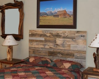 Natural Barn Wood Headboard, Wall Mount Headboard, Barn Wood Headboard,  Rustic Bedroom