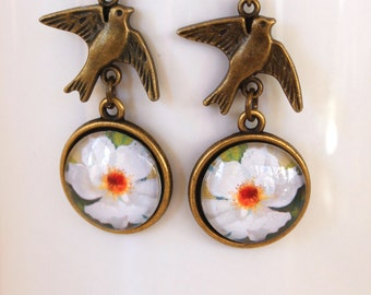 White Rose Flower Floral Earrings Antique Brass Finish Pierced Ear Dangle Earrings with Bird Charm