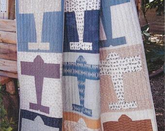 "Aviator Quilt Pattern, Airplane Quilt Pattern, Lella Boutique, Boy Quilt Pattern, Fat Quarter Friendly, 64""x 68"" Finished, LB 152"
