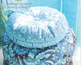 Honey Bun Poufs Floor Cushion Pattern by Amy Butler, Midwest Modern Sewing Patterns, 2 Sizes