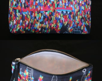 POUCH in black silk multicolored patterned