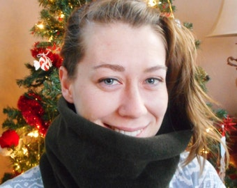 Adult fleece neck warmer; reversible scarf, cowl, snood, gaiter, muffler, neckwarmer, tube scarf; warm fleece Colorado scarves