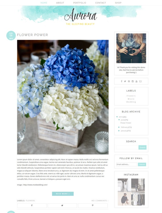"Blogger Template Premade Blog Design - Premade Blogger Theme Blue blog template - Watercolor Blogger Template - ""AURORA"""