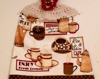 Retro Look Coffee Cup Crocheted Kitchen Towel
