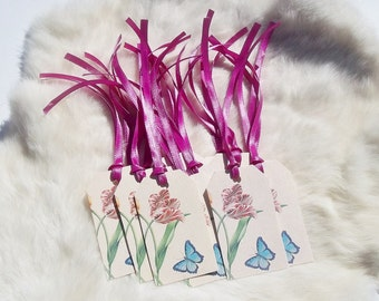 BUTTERFLY & FLOWER Gift Tags Set of 15 Butterfly Gift tags Floral Gift tags