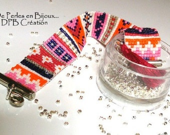 Delicas Miyuki white, pink, red, black, orange beads woven bracelet