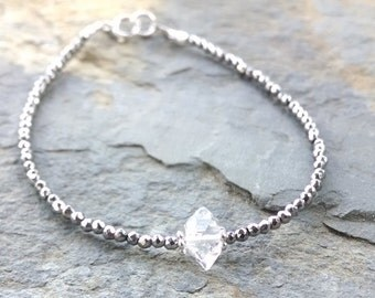 Herkimer diamond bracelet, pyrite beaded bracelet, beaded gemstone bracelet, skinny stacking bracelet, gemstone friendship bracelet