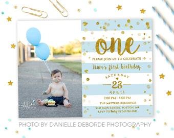 1st Birthday Invitation Boy, First Birthday Invitation, One, Blue & Gold, Confetti, Boy 1st birthday invite, Boy Invitation, Printable