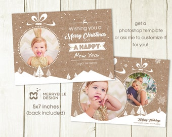 Photo Christmas card template, Christmas photoshop template, holiday card template, Christmas photo card for photographers