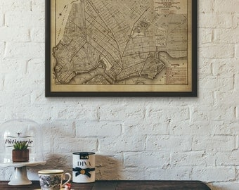 Historical 1874 Brooklyn Map Reproduction Print, retouched and recolored, Home/office decor #652b