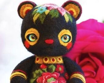 Felted teddy bear in Zhostovo folk style