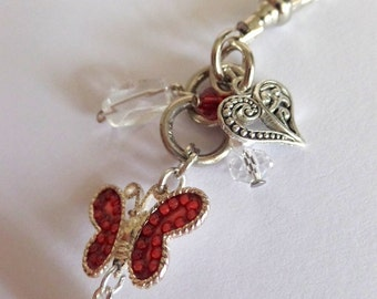 Red butterfly crystal and heart purse zipper charm / rear view mirror fob / whimsical bouquet charm, made in smoke free home, purse jewelry