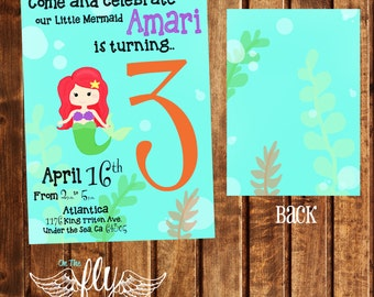 Pre-Made Little Mermaid Announcement Birthday Party Invitation Under the Sea