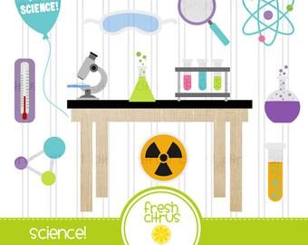 School Clip Art Science Lab College Microscope Beaker Table Clip Art