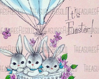 Easter Bunnies in a Hot Air Balloon Basket Easter Card #62 Digital Download