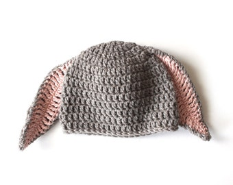 Organic Wool Bunny Hat, Baby Bunny Hat, Newborn Hat, Infant Hat, Crocheted Hat, Bunny Photo Prop, Rabbit Hat