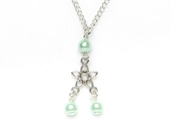 SALE! Flower Necklace | Green Beaded Flower Necklace | Silver Flower Necklace | Beaded Jewellery