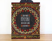 "Nelson Mandela | Print Chalkboard Quote ""Todo parece imposible hasta que se hace."" (S, XL)"