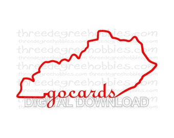 Kentucky Go Cards Digital Download Outline SVG DXF EPS Silhouette Studio Cricut Design Space