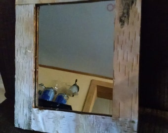 Birch Bark Wall Mirror, 11 x 13 wood framed Mirror