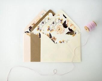 watercolor floral lined envelopes / blush floral envelope liner / envelopes for wedding invitations / wedding envelopes / envelope liner