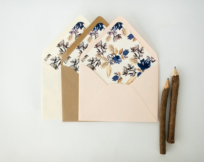 calico denim floral lined envelopes (sets of 10) // romantic blue rustic floral envelope liners lined envelopes