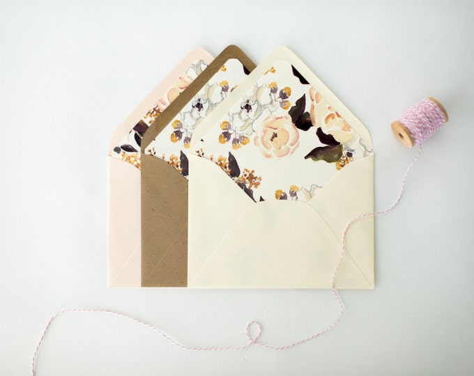 annabelle floral lined envelopes (sets of 10) // watercolor romantic floral blush envelope liners lined envelopes