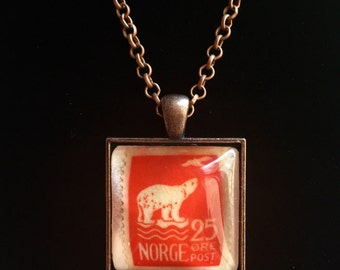 Norwegian Polar Bear Postage Stamp Pendant