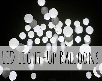 """12"""" White Balloons that Light Up, 10 pieces LED Balloons, Glow Balloons, Wedding Decorations, Birthday Party Decorations, Night Lights"""