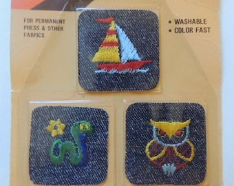 vintage 70's iron on patches unopened/deadstock//owl worm sailboat/ supply//denim patches/ patchwork/hippie jeans/ boho/ hippy