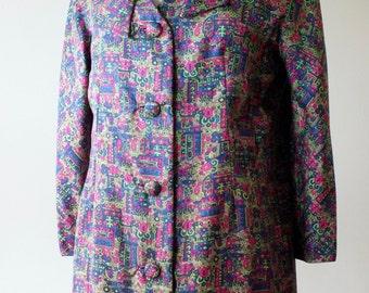1960s psychedelic print pea coat + Vintage floral spring jacket